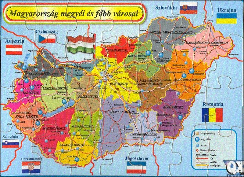 magyarország térkép megyékkel városokkal Puzzle magyarország térkép megyékkel városokkal